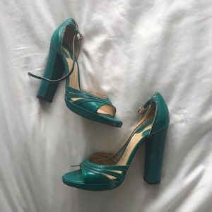 Teal green Chloé helped sandals with ankle strap